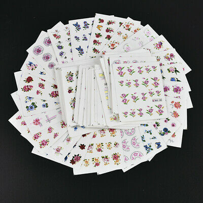 55Pcs Cherry Flower Butterfly Nail Water Decals Nail Art Transfer Stickers Decor