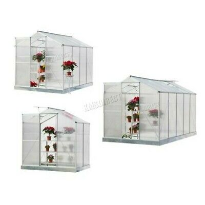 FoxHunter Clear Polycarbonate Greenhouse Aluminium With Base Slide Door Silver