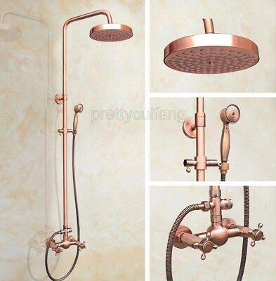 Antique Red Copper Wall Mounted Bathroom Rain Shower Faucet Set Mixer Tap Prg522