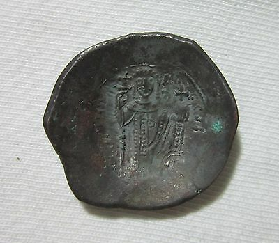 Byzantine. Billon Aspron Trachy, Manuel I , Virgin Obv. 1143-1180 Ad. Sharp