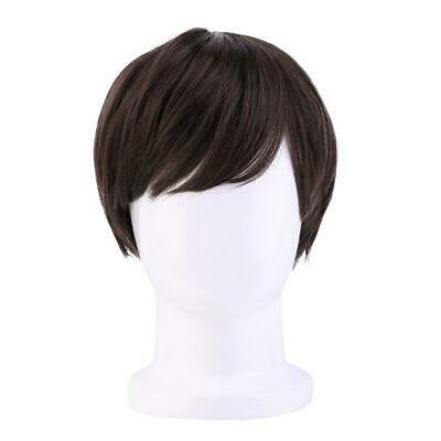 Full Wig Fashion Party Mens Boys Brown Straight Short Synthetic Hair Cosplay AU