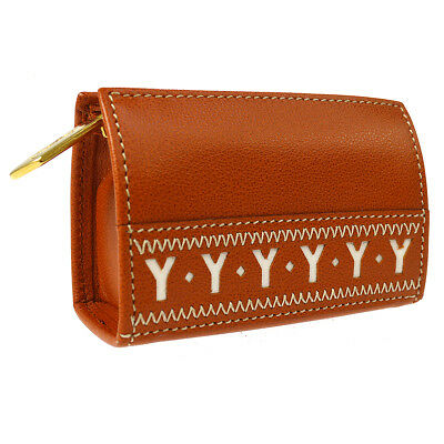 daae9974e11 Authentic Yves Saint Laurent Coin Purse Wallet Leather Brown Vintage A41798