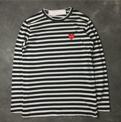 feb4531040527 STRIPED MEN'S WOMEN Comme Des Garcons Cdg Play Red Heart Long Sleeve T-Shirt