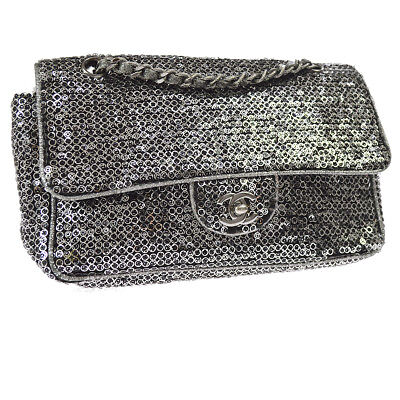 f84b5a09926d Auth CHANEL Quilted CC Double Chain Shoulder Bag Black Canvas Sequins  RK12068
