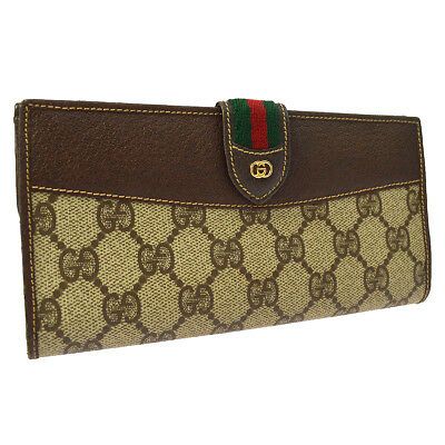 671c7b4df5f Authentic GUCCI GG Shelly Line Wallet Purse Beige Brown PVC Vintage A41694