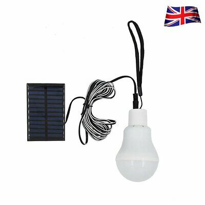 Solar Panel Powered LED Light Bulb Portable Outdoor Camping Tent Fishing Lamp UK