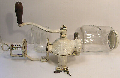 ANTIQUE VINTAGE WALL MOUNT ARCADE CRYSTAL No 3 COFFEE GRINDER MILL CAST IRON