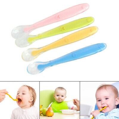 Baby Spoon Silicone Feeding Candy Color Soft Safe Tableware Infant Learning Love