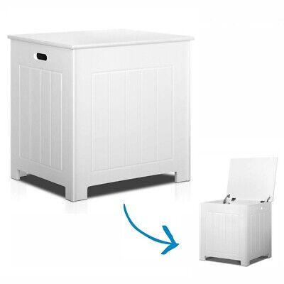 Bathroom Storage Laundry Clothes Cabinet Kids Wooden Toy Box Flip Top White NEW
