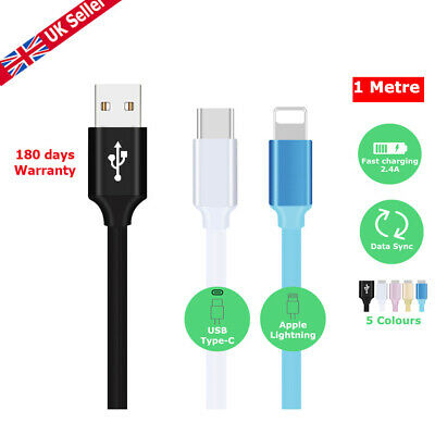 Heavyduty USB Quick Charger Data Charging Cable Lead For iPhone & Type-C