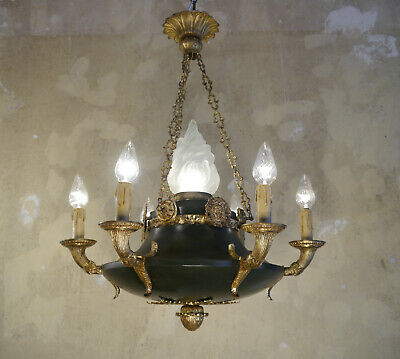 Fine Antique Empire Brass Chandelier Ceiling Lamp Fixtures 7 Light Lustre Used