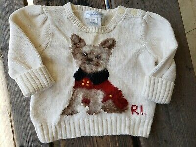 Ralph Lauren Beige Pullover Sweater W/Yorkie Girls/Infants Size 3 Months