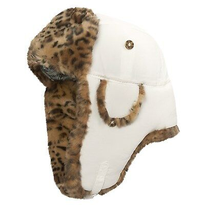 0b4c0554 Mad Bomber Unisex White Supplex Nylon Faux Leopard Fur Aviator Bomber Xl Nwt