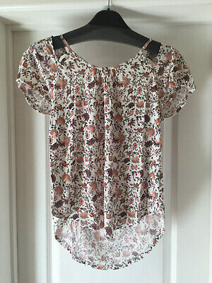 BNWT V by Very Ladies Cut-Out Back Jersey T-Shirt - Size 8 Floral Multi-Print
