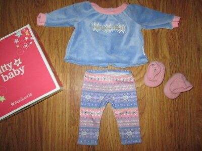 Authentic AMERICAN GIRL BITTY BABY DOLL SNOWY DREAMS PAJAMAS PJS CLOTHES NIB NEW