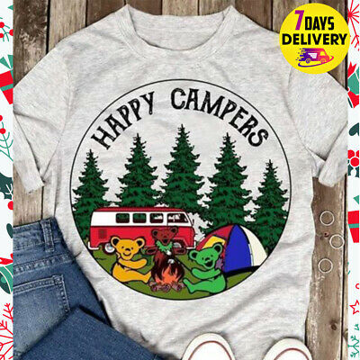 ac7e787e GRATEFUL DEAD BEARS Happy Campers Camping T Shirt Gray Size S-3XL