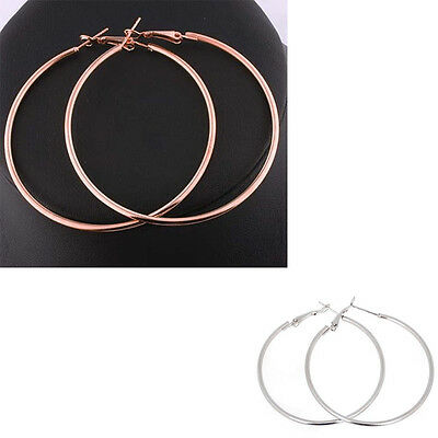 Women Silver/Gold Round Big Large Hoop Huggie Loop Dangle Earrings YJ