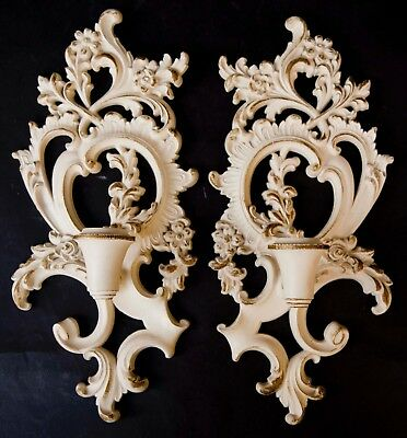 Syroco Vintage Mid Century Modern wall Sconce Candle Holders from the 1960's