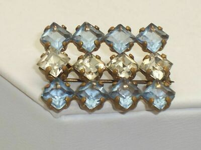 Art Deco Open Back Blue & Clear Square Cut Stones Brooch Pin