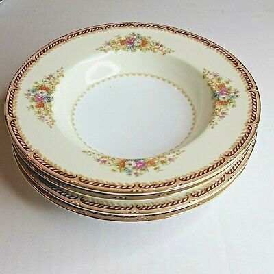 Noritake Occupied Japan Dinnerware China Gold Edge Floral Soup Bowl Set of 4