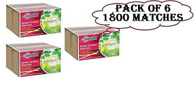 6 Pack Diamond Strike On Box Greenlight Matches 300 Count