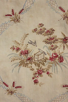 Fabric Antique French faded circa 1900 floral ribbon & bird design ~ GORGEOUS