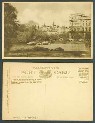 London Old Postcard St. James's Park, Government Buildings from Lake, Greetings