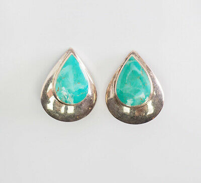 ac4b61f14 Vintage drop shape sterling silver and turquoise clip on earrings signed