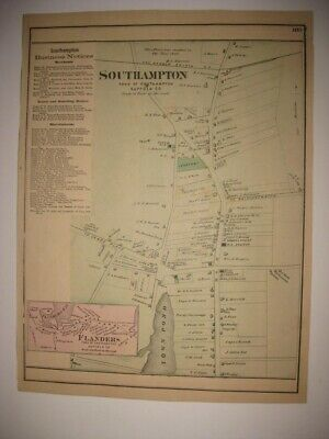 Antique 1873 Southampton Flanders Suffolk County New York Handcolored Map Rare