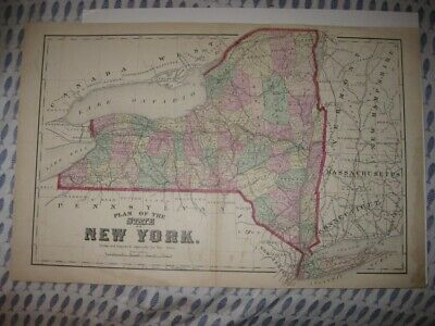 Antique 1873 New York State City Long Island Railroad Handcolored Map Superb Nr