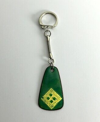 Vintage Pre-1995 Green Essex-Made Enamelled Metal Hand Made Unique Keyring