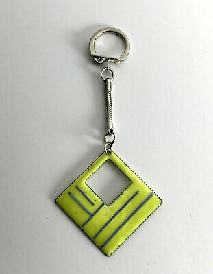 Bright Yellow Square Vintage Essex-Made Enamelled Metal Hand Made Unique Keyring