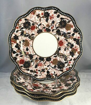 Very Fine Set of 4 Antique Coalport Imari Dessert Plates Pattern 6517