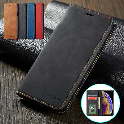 For iPhone XR Case XS Max X Retro Leather Folio Card Wallet Stand Magnetic Cover