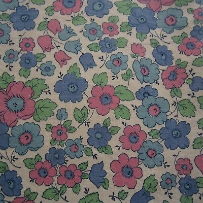 Blue Pink Green Floral Vintage Cotton Fabric 1940s 1950s 50cm x 90cm  Sewing