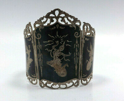 Vintage Siam Sterling Silver Black Niello Enamel Thai Dancer Panel Link Bracelet