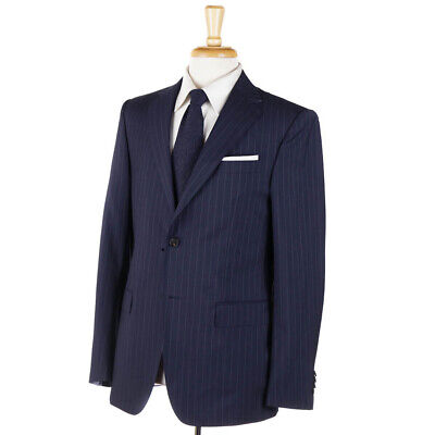NWT $1495 Z ZEGNA 'Drop 7' Navy Blue and Gray Stripe Wool Suit 38 R (Eu 48)