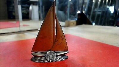 VINTAGE- 1970s --Pewter-- ST. LOUIS CATHEDRAL--Brass coated sailboat stand