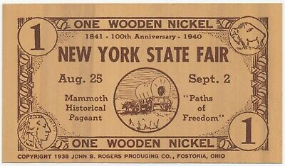 1940 New York State Fair Historical Pageant Flat Wooden Nickel Souvenir