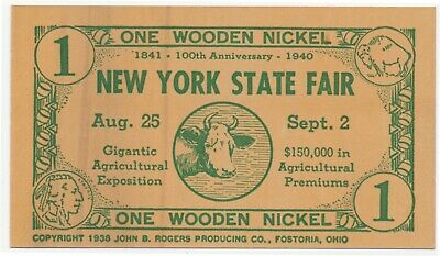 1940 New York State Fair Agricultural Exposition Flat Wooden Nickel Souvenir