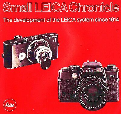 1914 to 1980 LEICA CAMERA HISTORY BROCHURE -SMALL LEICA CHRONICLE