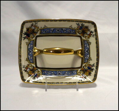 Noritake Art Deco Era Center Handle Ashtray Floral Design with Gold Trim N257