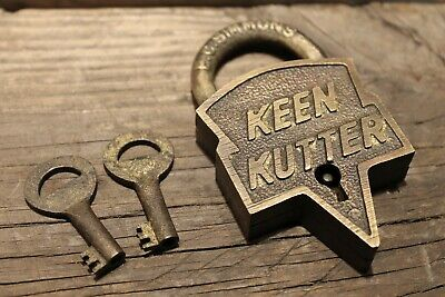 Antique Vintage Style Brass Keen Kutter Padlock Lock & Key