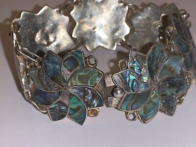 Vintage Mexico TAXCO Sterling Silver ABALONE SHELL PANEL Bracelet Artisan Sgd 8""