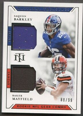 separation shoes 0cb11 968ae 2018 NATIONAL TREASURES NFL Gear Saquon Barkley Baker Mayfield RC Jersey /99