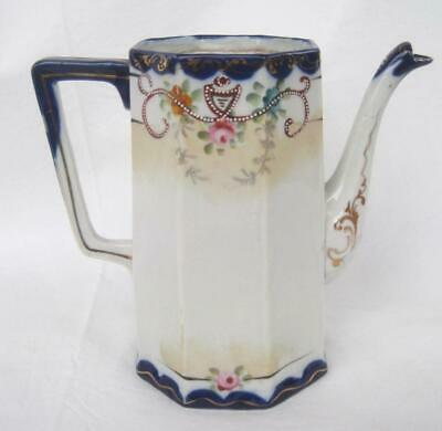 Antique Nippon Te-Oh Pitcher Tea Chocolate Pot 1 Handpainted Moriage Gold Japan