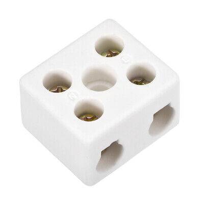 2 Way Ceramics Terminal Blocks High Temp Porcelain Connectors 31x27x19.5mm