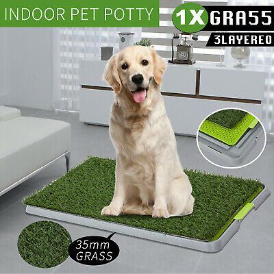Indoor Dog Pet Potty Training Toilet Portable Loo Pad Large Tray Grass Mat Set