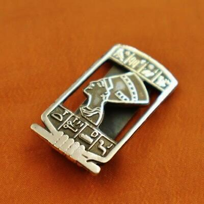 Antique Egyptian Solid Silver Money Holder Clip Ancient Queen Nefertiti_Stamped