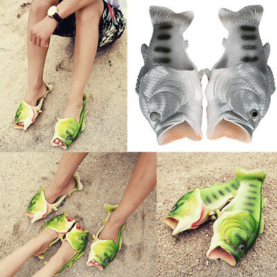 594ef230a Unisex Fish Shower Slippers Creative Funny Beach Shoes Sandals Bling Flip  Flops